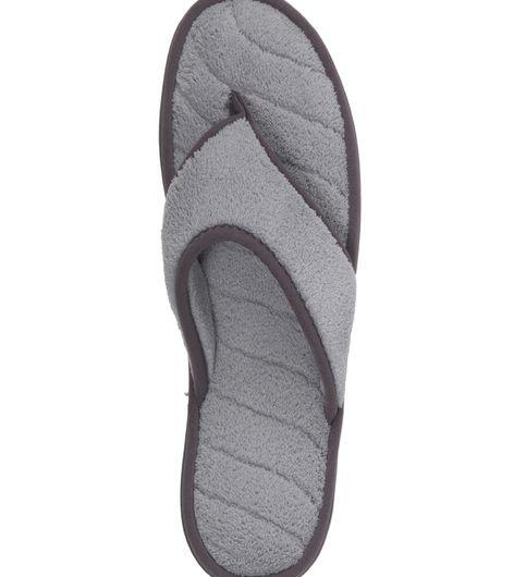 Dearfoams Microfiber Terry Flip Flop with Grey Wave Quilt Sock
