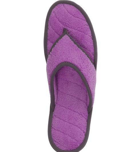 Dearfoams Microfiber Terry Flip Flop with Purple Wave Quilt Sock