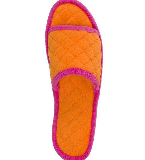 Dearfoams Quilted Terry Orange Jolt Slide