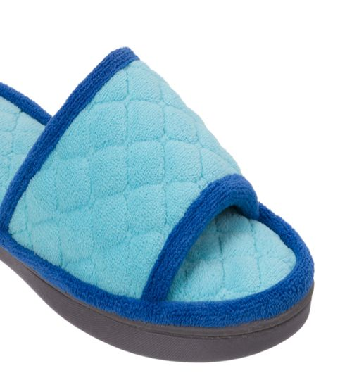 Dearfoams Quilted Terry Reptide Blue Slide