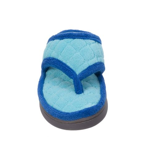 Dearfoams Quilted Terry Reptide Blue Flip Flop