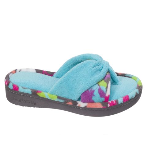 Dearfoams Two-Piece Print Reptide Blue Flip Flop