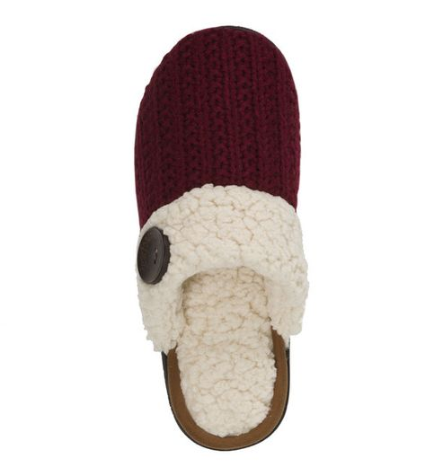 Feelinwow Cable Knit Scuff Slipper Red