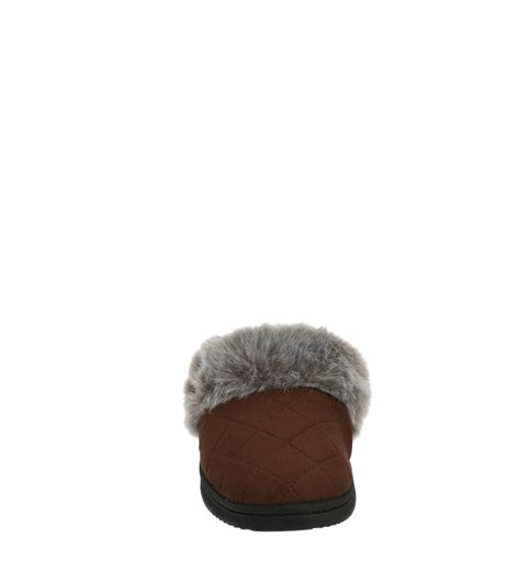 Feelinwow Chalet Quilted Microsuede Scuff Slipper Brown