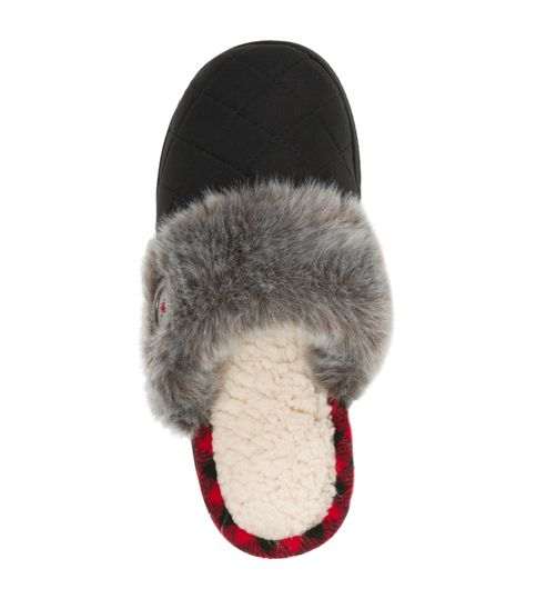 Feelinwow Chalet Quilted Microsuede Scuff Slipper Black