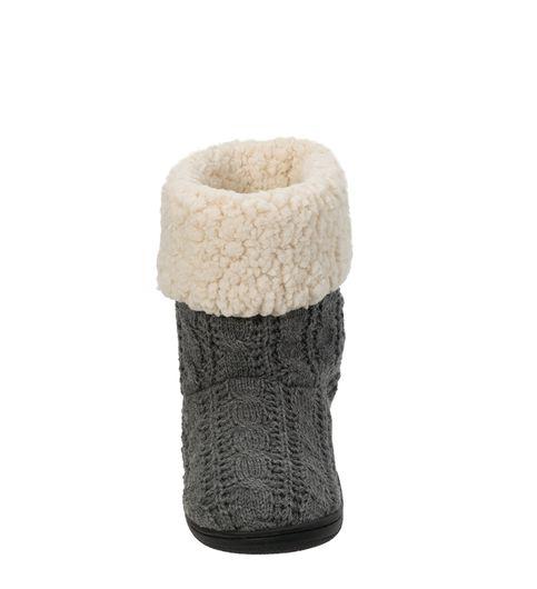 Feelinwow Cuffed Knit Boot Slipper with Heel Patch Grey