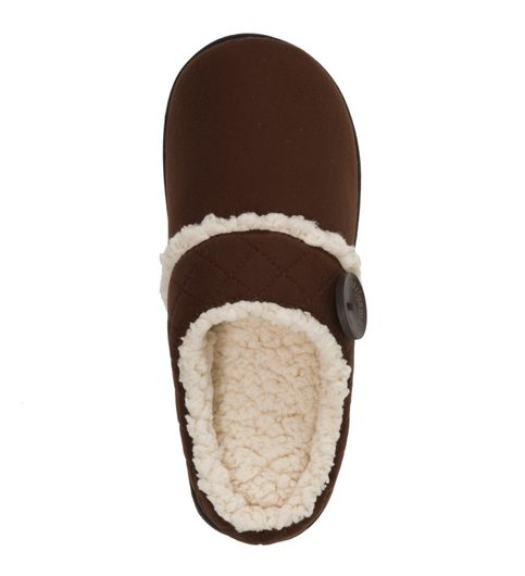 Feelinwow Microsuede Clog Slipper with Quilted Cuff Brown