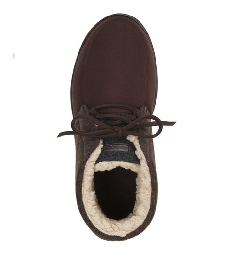 Feelinwow Microsuede Lace-Tie Boot Slipper Brown