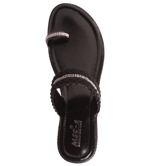 Msc Women Synthetic Black Sandal