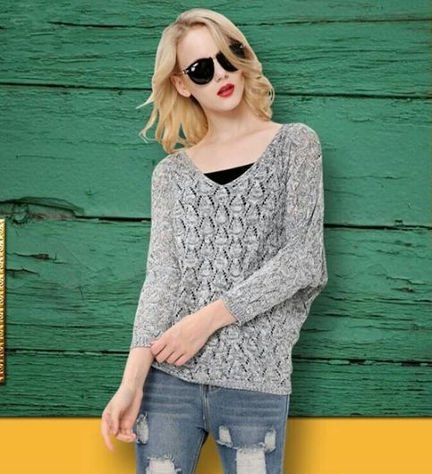 Autumn Winter Celebrity Style Women Sweater Coat Asymmetric Hem Pullover Spring Lady Knitted Sweater Tops  Colors available - Wine Grey silver Blue