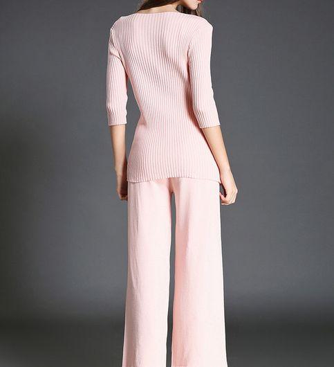 Side Slit Knitted Half Sleeve Co-Ords