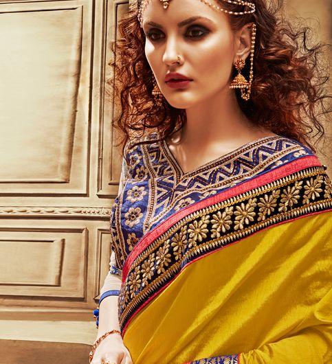 Shonaya Gold  Blue Color Art Dupion Silk Embroidered Saree