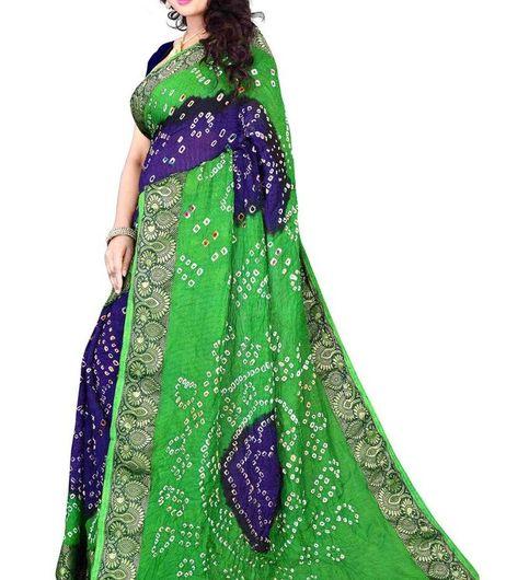 D R New Mind Blowing Parrot And Blue Cotton Silk Bandhani Designer Saree