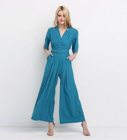 Blue Clinched Waist jumpsuit