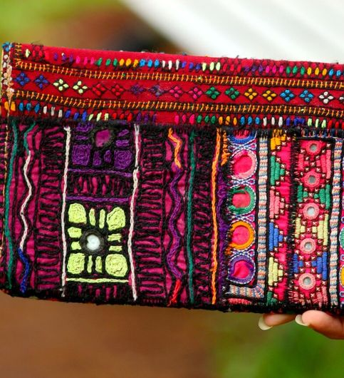 Multicolor Hand Embroidered Banjara Purse With Leather On Flaps From Rajasthan - Pattern 2