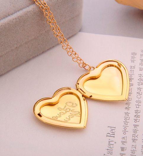I love you Carved Love Heart Secret Message Locket Necklace Pendant Vintage Gift For Lover Couples