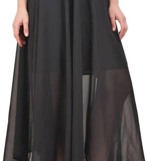 SuAndJay Black Poly Georgette Full length SKIRT