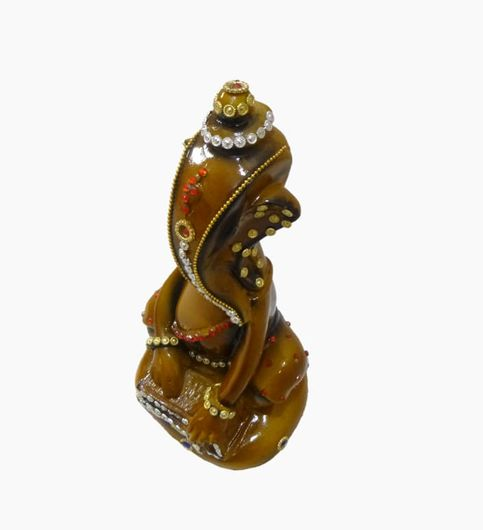 Craftofy Green Colored Ganesha Playing Harmonium By His Hands