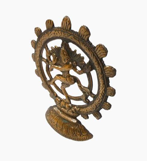 Craftofy Metallic Idol Of Lord Nataraj With Circular Periphery