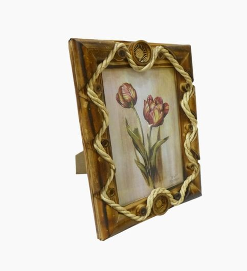 Craftofy Wooden Photo Frame With Thin Rope On The Periphery