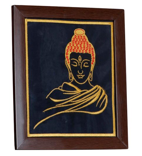 P K Buddha Art Wall Hangings Frame Embroidered