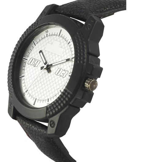 The Shopoholic Analog Black Dial Black Leather Belt Watches For Men-Watches For Boys