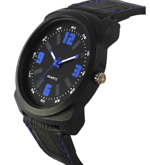 The Shopoholic Analog Multicolor Attractive Dial Black Leather Belt Watches For Men-Watches For Boys