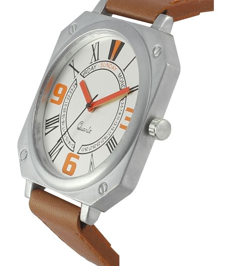 The Shopoholic Analog White Dial Brown Leather Belt Watches For Boys-Men Watch
