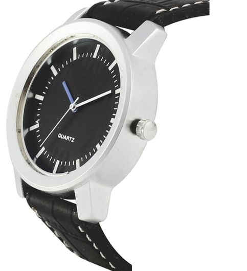 The Shopoholic Casual Analog Newest Arrival White Round Dial Black Leather Belt Watches For Boys-Men Watch1