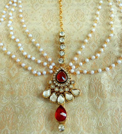 Lalso Royal Wedding Jewelry Red Pearl Kundan Mathapatti Maang Tikka - Lmp03rd