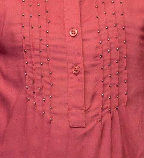 Girls Red Embellished Top