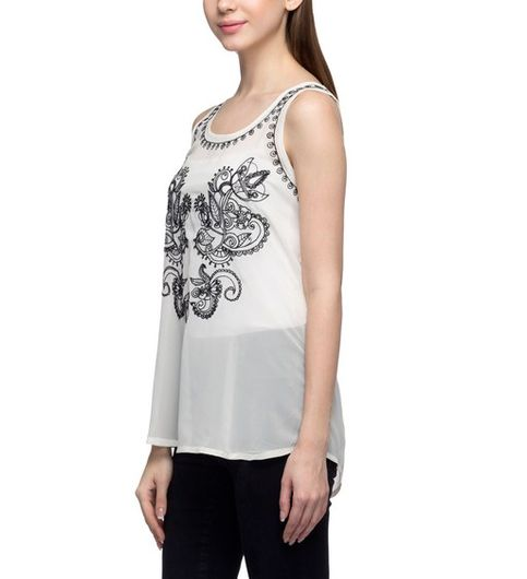 Women Embellished White Top