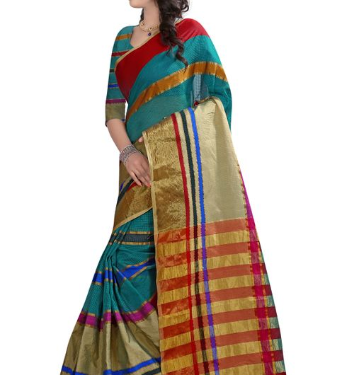 B4Best Creation Embellished Net Rama Color Saree for Women with Blouse Piece080