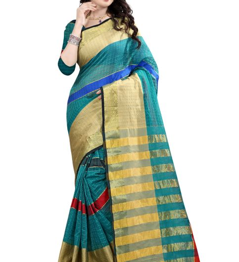 B4Best Creation Embellished Net Rama Color Saree for Women with Blouse Piece075