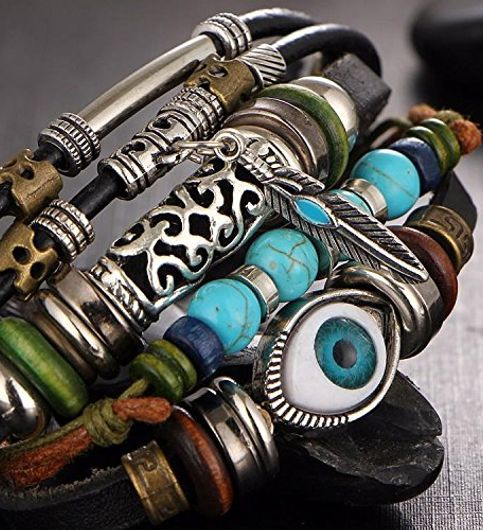 The Jewelbox Punk Turkish Evil Eye Multi Strand Turquoise 100 Genuine Leather Bracelet For Boys Men