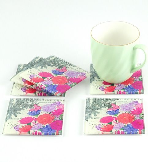 Nestroots Extremely Stylish Floral Print Glass Coasters Set of 6