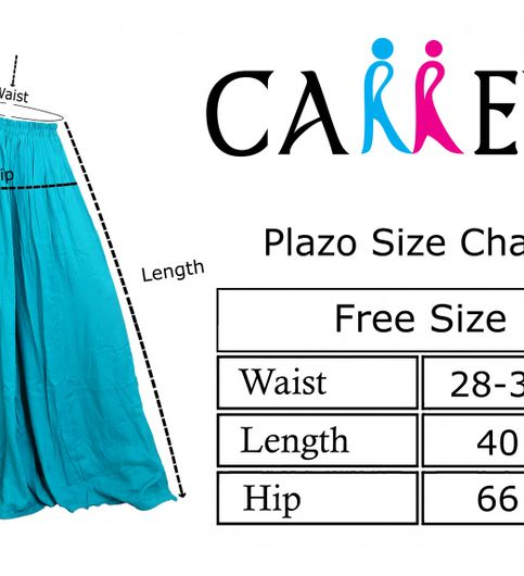 Carrel Imported Cotton Rayon Fabric Free Size Women Comfort Fit Solid Flared Palazzo Pant