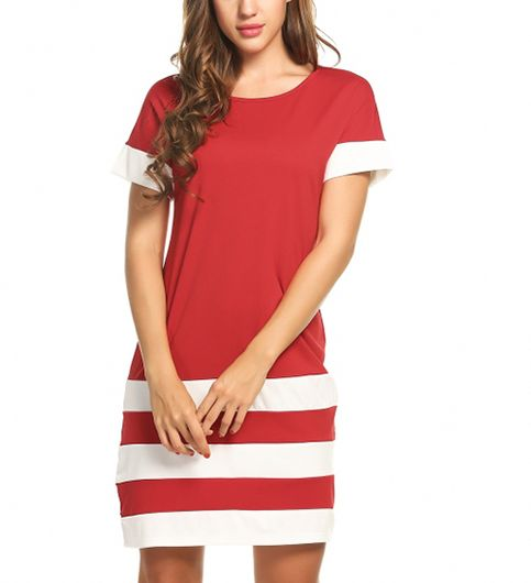 Red Three Stripes Dress