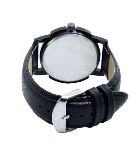 Klassy Collection-01 Stylish And Attractive Pure Black Leather Strap Analog Watch - For Men