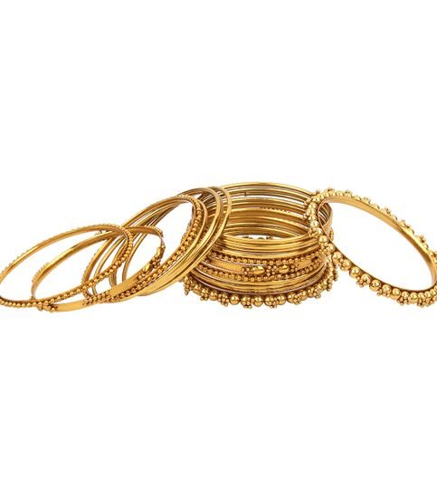 Penny Jewels Party Wear For Wedding Traditional Stone Latest Stylish Golden Bangles Set Pack Of 2