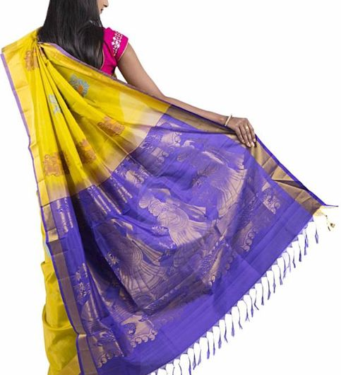 Abhi Silks Embellished Fashion Handloom Silk Saree