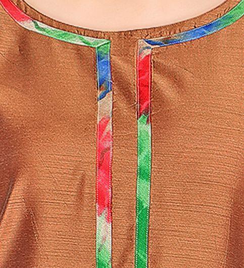 Admyrin Brown Cotton Silk Printed Kurta With Palazzo