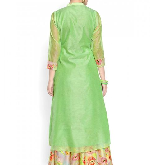 Admyrin Pista Green Cotton Silk Digital Printed Kurta With Skirt