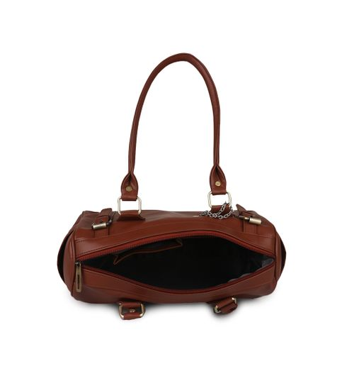 Goldmine Designer Hand Bag and Clutch Combo For Girls and Womens Brown Party Ware