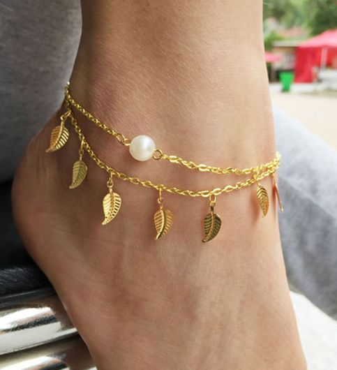 Stylish Teens Vintage Anklets For Women Fashion Anklet Gold Plated Leaf Peal Decoration Bracelet Beach Foot Jewelry