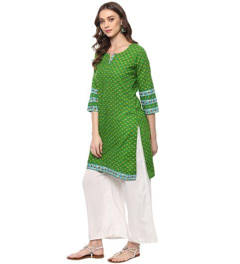 Vedic Womens Green Printed Cotton Kurti