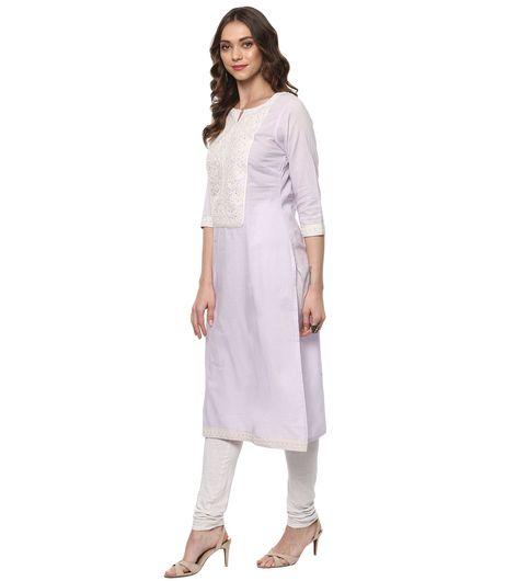 Vedic Womens Straight Kurti with 34th Sleeves 31