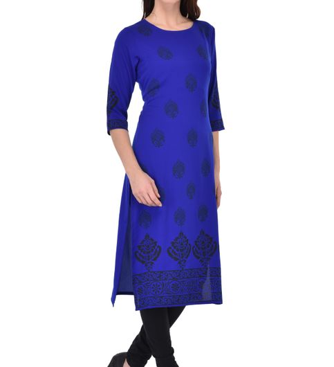 Sgatra Women Crepe Kurta Royal Blue Floral Straight Kurti