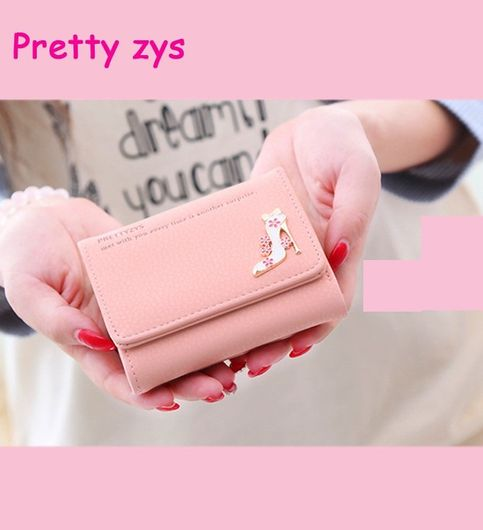 Pink Color Ladys Purse Fashion High-Heeled Shoes Pattern Wallets For Women