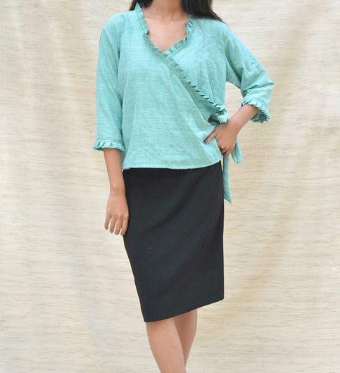 Firozi Blue Khadi Cotton Ruffled Crop Top
